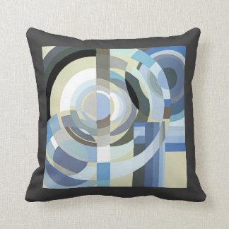 Retro Art Deco Jazz Vintage Blue Circles Pattern Throw Pillow