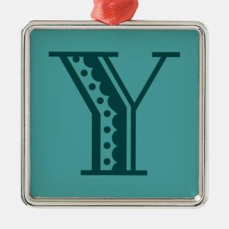 Retro art deco Mexican style letter monogram Y Silver-Colored Square Ornament