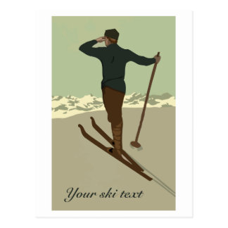 Retro art deco ski travel ad customizable postcard