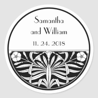 Retro Art Deco Stained Glass Floral Wedding Favor Round Sticker