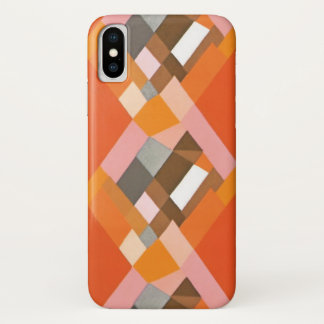 Retro Art Deco Vintage Jazz Orange Diamond Pattern iPhone X Case