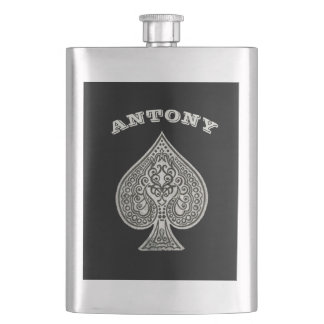 Retro Artistic Poker Ace Of Spades Personalized Hip Flask