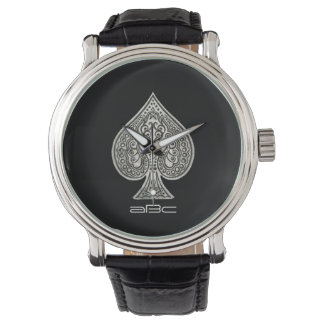 Retro Artistic Poker Ace Of Spades Personalized Wrist Watch