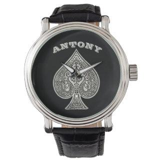 Retro Artistic Poker Ace Of Spades Personalized Wristwatch