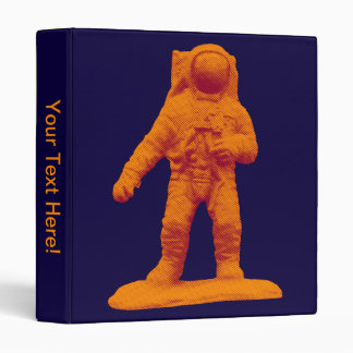 Retro Astronaut Figurine 3 Ring Binder