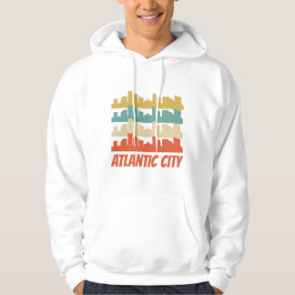 Retro Atlantic City NJ Skyline Pop Art Hoodie