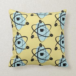 Retro Atomic Gold Coffee Bean Throw Pillow