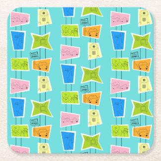 Retro Atomic Kitsch Hard Paper Coasters
