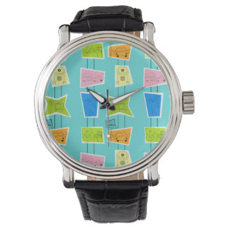 Retro Atomic Kitsch Leather Watch