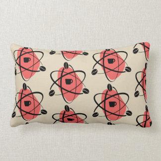 Retro Atomic Pink Coffee Bean Throw Pillow