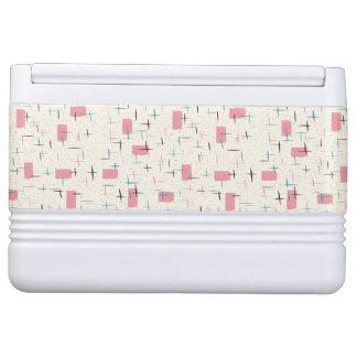 Retro Atomic Pink Pattern Igloo Can Cooler