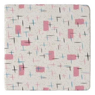 Retro Atomic Pink Pattern Marble Trivet