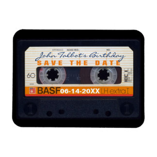 Retro Audiotape 60th birthday Save the date Magnet
