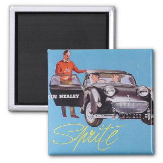 Retro Austin Healey Sprite Car Hiking Duck Square Magnet