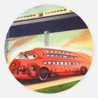 Rétro autobus allemand nazi vintage de Sci fi Sticker Rond