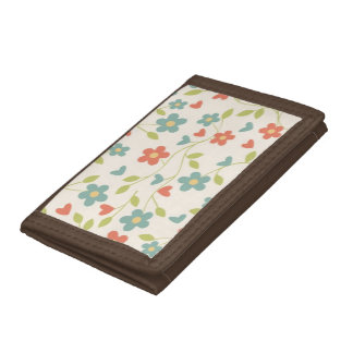 Retro Autumn Blossom Brown TriFold Nylon Wallet
