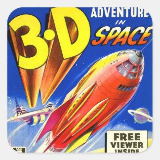 Rétro aventure vintage de Sci fi 3D de kitsch dans Sticker Carré