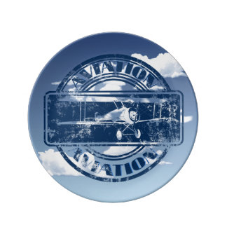 Retro Aviation Art Plate