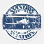 Retro Aviation Art Round Sticker
