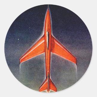 Rétro avion vintage X-1 de l'espace de Sci fi Sticker Rond