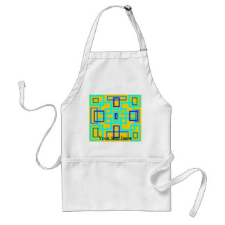 Retro baby blue squares on yellow standard apron