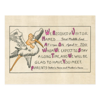 Retro Baby Girl & Stork Parents Birth Announcement Postcard
