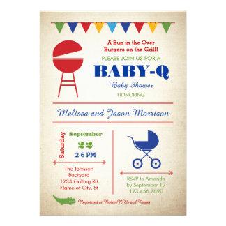 Retro Baby-Q Baby Shower Invitation
