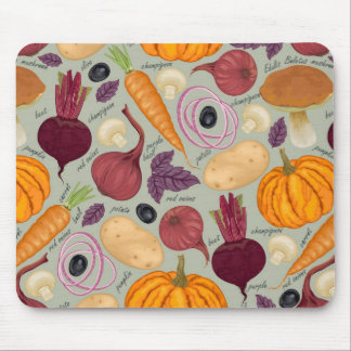 Retro background from fresh vegetables mouse pad