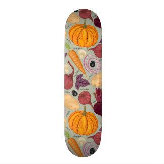 Retro background from fresh vegetables skateboard decks