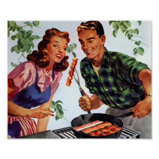 Retro Bacon Barbeque Poster