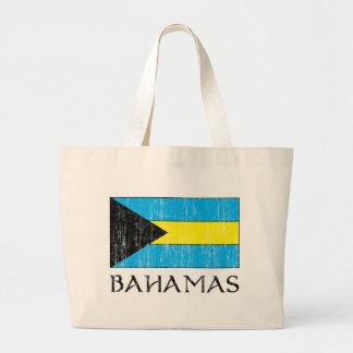 Retro Bahamas Flag Totebag Large Tote Bag