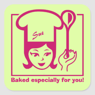 "Retro ""Bakergirl"" Stickers for Baked Goods"