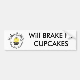 Retro Bakery Will BRAKE for CUPCAKES bumper sticke Bumper Sticker