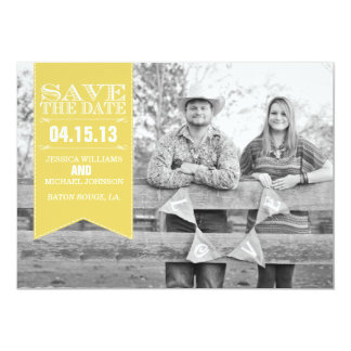 "Retro Banner Save the Date | Yellow 5"" X 7"" Invitation Card"