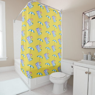 Retro Beach Ball Crab Towel Umbrella Custom Yellow
