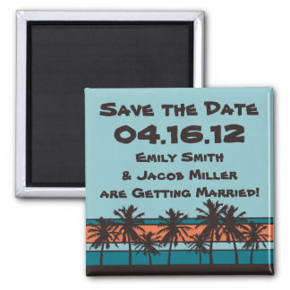 Retro Beach Save the Date Magnet
