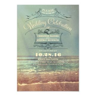 Retro beach wedding invitations - Vintage Seascape