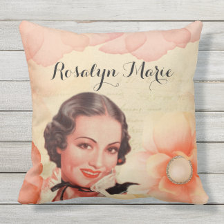 Retro Beautiful 1920s Twenties Woman Rose Petals Throw Pillow