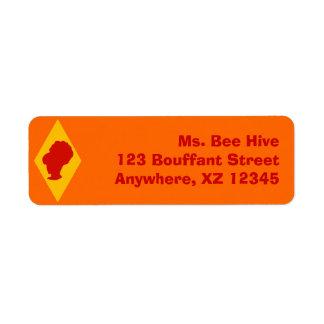 Retro BeeHive Cameo Diamond Return Address Label