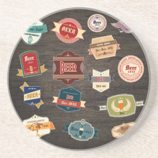 Retro Beer Labels Collage Coaster