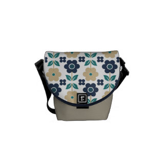 Retro Beige/Blue Flowers Commuter Bag