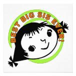 Retro Best Big Sister Ever Personalized Invite