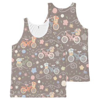 Retro Bicycle and Flowers All-Over-Print Tank Top