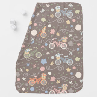 Retro Bicycle and Flowers Baby Blanket