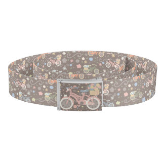 Retro Bicycle and Flowers Belt