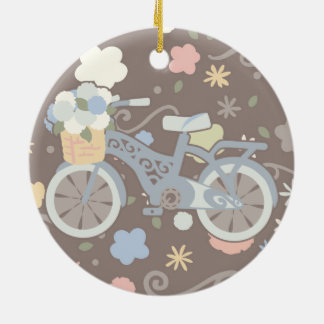 Retro Bicycle and Flowers Ceramic Ornament