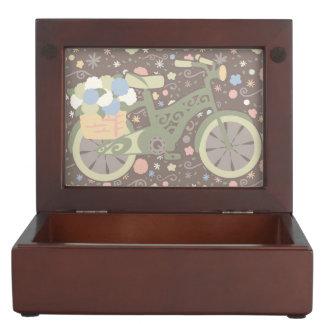Retro Bicycle and Flowers Keepsake Box