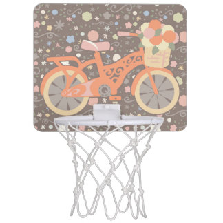 Retro Bicycle and Flowers Mini Basketball Hoop