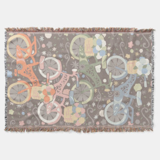 Retro Bicycle and Flowers Throw Blanket