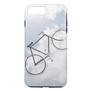 Retro Bicycle Bike in the Sky with Clouds Design iPhone 7 Plus Case